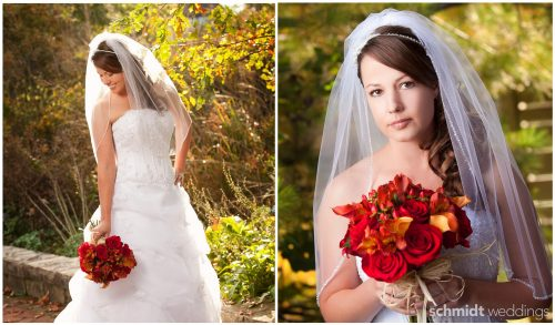 outdoor full length bride portrait idea fall wedding schmidt photo