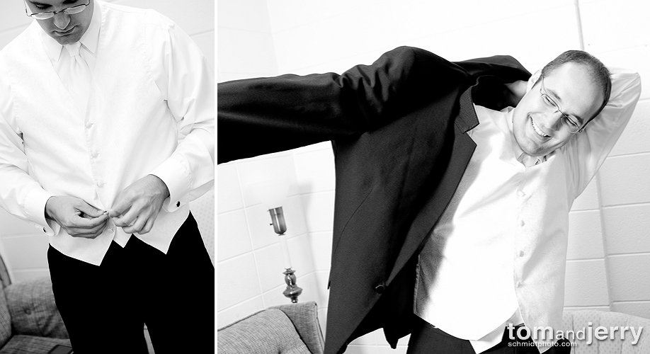 Preparation Photos - Wedding Tux - Black and White Photos
