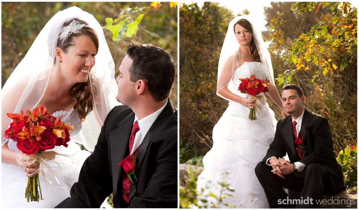 Fall wedding outdoor portraits artistic lighting bride and groom powell gardens kc schmidt photo