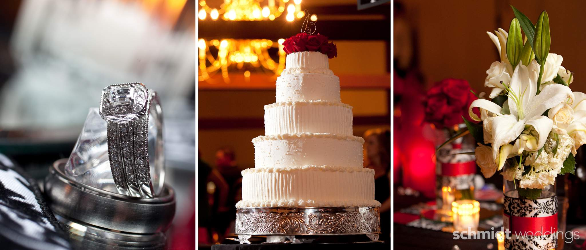 wedding day details for reception cake rings and flowers - schmidtweddings